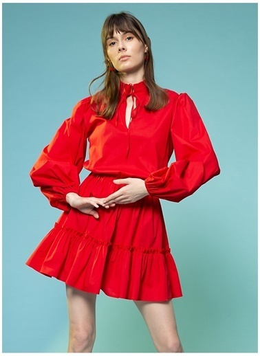 Selma Çilek X Boyner Selma Çilek Düz Mini Elbise Kırmızı